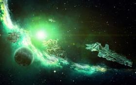 Картинка космос, туманность, планета, арт, звёзды, галактика, корабли