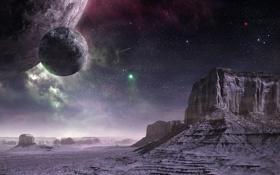 Картинка небо, звезды, поверхность, камни, скалы, планета, арт