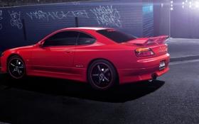 Обои red, S15, Silvia, Nissan, блик, красная, ниссан