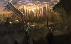Картинка небо, облака, свет, закат, город, оружие, девушки
