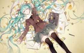 Картинка листья, девушка, аниме, арт, vocaloid, hatsune miku, портфель