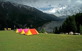 Картинка горы, люди, туристы, палатки