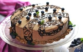 Обои голубика, орехи, шоколад, торт, декор