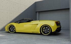 Картинка Авто, Желтый, Lamborghini, Тюнинг, Гараж, Gallardo, Диски