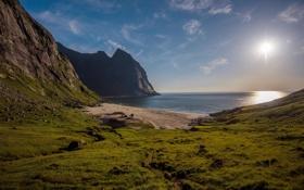 Картинка песок, пляж, солнце, Природа