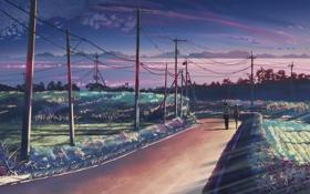 Обои дорога, аниме, 5 сантиметров в секунду