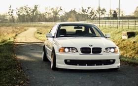 Обои bmw, e46, 323ci, coupe, white, stance, бмв, купе, белая