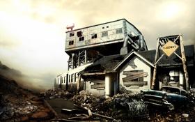 Картинка дорога, машина, дом, здание, арт, постапокалипсис, пустош