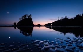 Картинка камни, скалы, пейзаж, силуэт, ночь, озеро, море