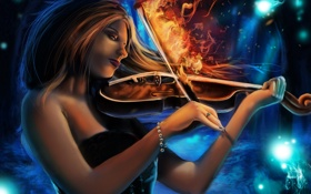 Картинка огонь, скрипка, музыка, девушка, волосы, профиль, арт