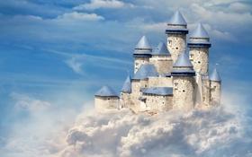Обои небо, облака, замок, голубой, башни, castle