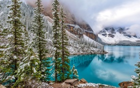 Картинка зима, лес, снег, деревья, горы, озеро, камни