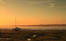 Картинка пейзаж, закат, река, лодка