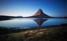 Картинка природа, пейзаж, озеро, гора