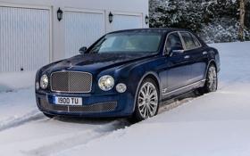 Картинка Зима, Bentley, Синий, Снег, Машина, Бентли, Люкс