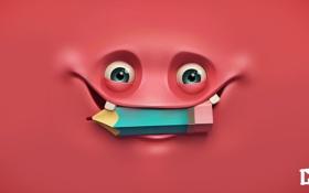 Обои глаза, лицо, улыбка, арт, карандаш