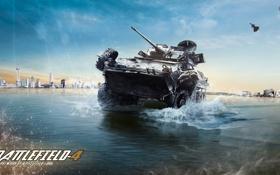 Картинка море, город, война, танк, бтр, Battlefield 4