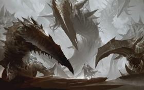 Обои монстр, меч, зубы, воин, пасть, щупальца, маг