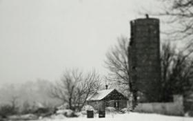 Картинка ветки, дом, ферма, серое небо, сарай, деревья, зима