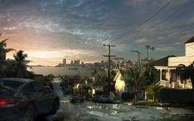 Картинка дорога, город, пальмы, улица, дома, порш, art