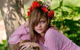 Картинка девушка, цветы, обои, венок