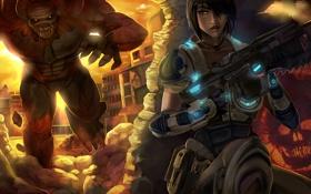 Картинка девушка, оружие, монстр, боец, Gears of War
