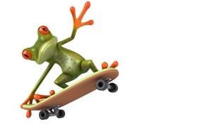 Обои транспорт, графика, лягушка, мопед, Free frog 3d