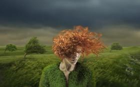Обои девушка, деревья, ветер, непогода, рыжеволосая