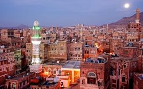 Картинка небо, горы, огни, луна, дома, минарет, Йемен