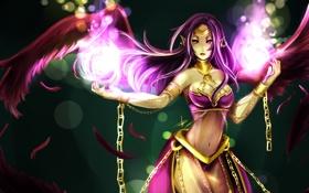 Картинка девушка, магия, крылья, цепи, League of Legends, LoL, Morgana