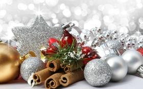 Обои зима, шарики, игрушки, бусы, декорации, белые, корица
