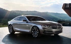 Обои BMW, небо, холмы, передок, концепт, купе, фон