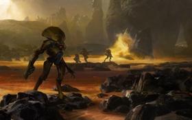 Обои камни, роботы, скалы, Destiny, море, concept art, берег