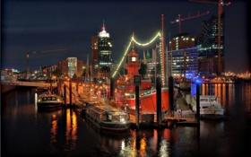 Картинка маяк, корабли, причал, порт, ночной город, Гамбург, суда