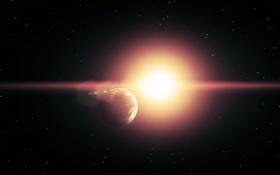 Обои вспышка, звезды, космическое, планеты, пространство