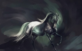 Обои фон, животное, конь, лошадь, арт, грива, хвост