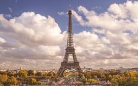 Обои небо, облака, эйфелева башня, париж, paris