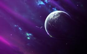 Обои звезды, туманность, планета, nebula, spaceships, cпутники