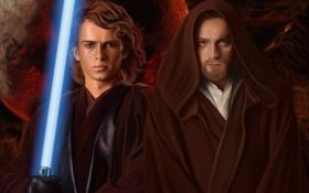 Обои Звездные войны, star wars, Ewan McGregor, Obi-Wan Kenobi, Anakin Skywalker, Hayden Christensen, Revenge of the ...