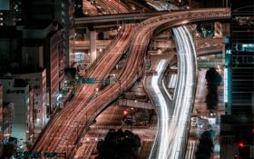 Картинка ночь, город, дороги, дома, выдержка, Япония, Осака