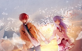 Обои girl, boy, angel, Angel Beats