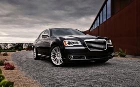 Обои Небо, Черный, Chrysler, решетка, Машина, Крайслер, Фары