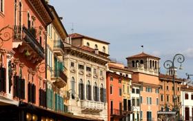 Обои дома, Италия, фонарь, балкон, Верона