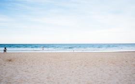 Картинка песок, море, пляж, небо, вода, океан, горизонт