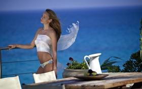 Обои девушка, задумчивость, стол, океан, ветер, растения, кувшин