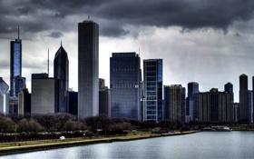 Обои тучи, city, небоскребы, америка, чикаго, skyline, chicago