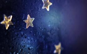 Обои капли, macro, вода, звездочки, макро, stars