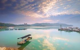 Картинка пейзаж, берег, причал, лодка, озеро, яхты