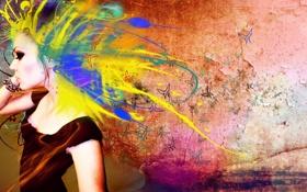 Обои цвета, девушка, бабочки, стиль, креатив, арт, яркость