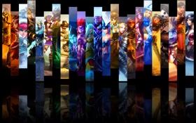 Обои отражение, коллаж, игра, черный фон, персонажи, League of Legends